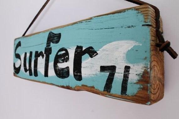 panneau surf sign surf decor bois plage surfeur 71 en. Black Bedroom Furniture Sets. Home Design Ideas