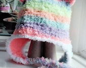 SALE 0 to 3m Rainbow Earflap Hat Newborn Bear Beanie Baby Shower Gift Baby Earflap Newborn Hat Rainbow Bear Hat Infant Photo Prop Christmas