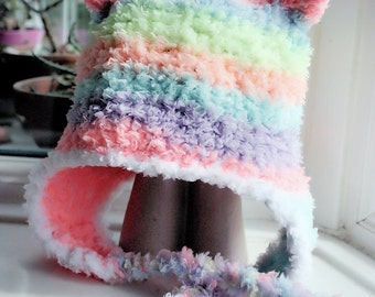 12 to 24m Rainbow Bear Earflap Hat, Bear Beanie, Toddler Hat, Earflap Bear Hat, Rainbow Bear Hat Toddler Photo Prop