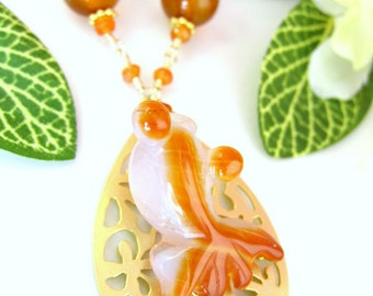 Chinese Orange Agate Koi Fish Necklace - Orange Koi Jade Fish Necklace - Japanese Koi Fish Pond Necklace - Chinese New Year Fish Necklace