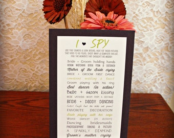 10 I Spy Cards Mounted on Colored Cardstock - Wedding Reception Game