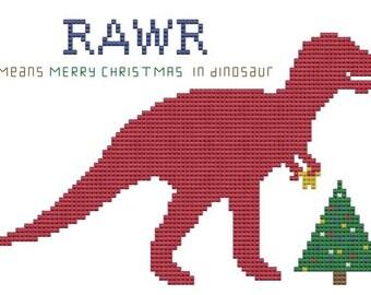 Dinosaur for Merry Christmas cross stitch pattern T-Rex Holiday chart .pdf