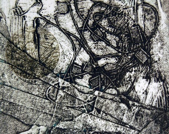Going Through the Motions, small, original, hand-pulled collograph monoprint with chine colle