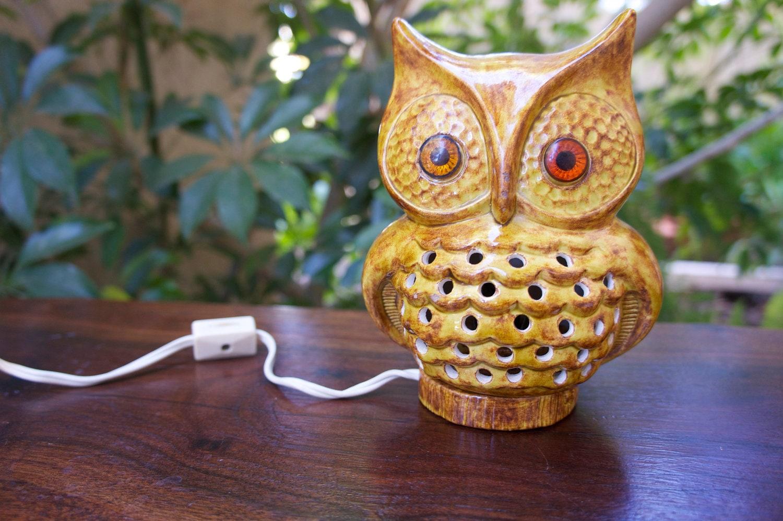 Vintage Ceramic Owl Night Light 1950s Mid Century Or 1970s