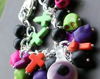 Creepy Jewelry Halloween Sugar Skull Charm Bracelet
