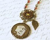 Red Glass Pendant, Vintage Style Necklace, Photo Pendant, Steampunk Necklace