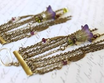 Green and Purple Lucite Flower Chandelier Earrings, Feather Earrings