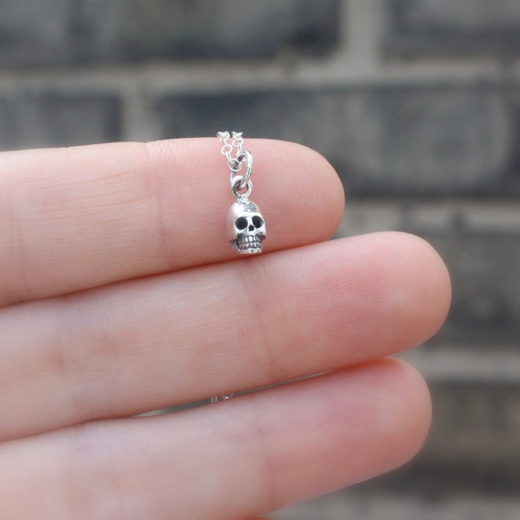 Tiny Skull Necklace - Halloween Jewelry. Available in Sterling Silver, Rose Gold Plated, Yellow Gold Plated, and Solid 14k/18k/22k Gold
