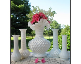 Milk Glass Vase Collection / Vintage Milk Glass Hobnail Vases / Wedding Milk Glass /  Party of Five