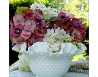 Fenton Hobnail Milk Glass Bowl/ Wedding Centerpiece