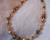 Mother of the Bride/Groom Necklace-Earring Set - Gold, Champagne and Smoke Beads - 18 Inches Long