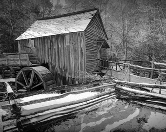 The Old Cable Mill in Cade's Cove in the Great Smoky Mountains National Park Tennessee A Black and White Fine Art Wall Decor Photograph