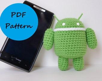 PDF Crochet Amigurumi Pattern - Android Robot