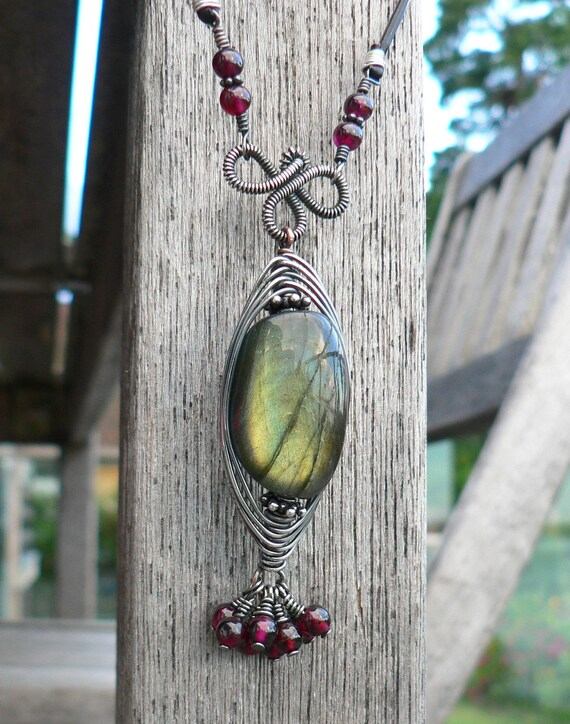 Upcycled Herringbone Weave Labradorite Focal Necklace w Garnets Sterling Silver and Copper