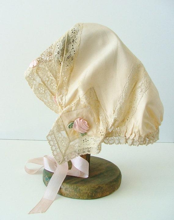 1920's pink silk ribbon and ecru lace breakfast cap / antique