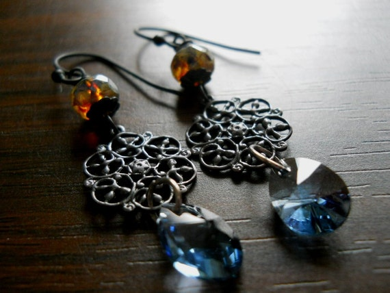 FIRE AND ICE-Xilion Denim Blue Swarovski Crystals Dark Antique Filigree Brass Picasso Glass Bead Earrings