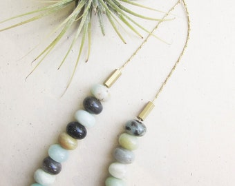 Tulum Necklace - OOAK Brown Adventurine with vintage raw brass beaded necklace