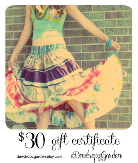 Upcycled Clothing Eco Chic 30 Dollar Gift Certificate For DewdropzGarden- Black Friday Etsy Cyber Monday Etsy