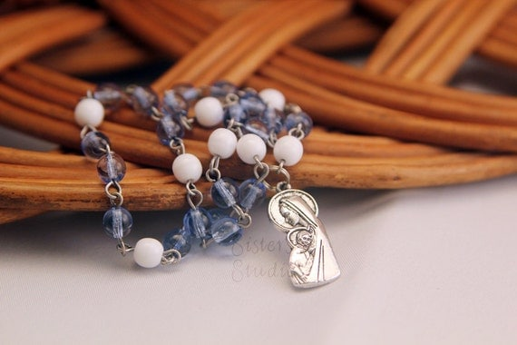 Sanctity of Life Chaplet with special prayers, Blue and Antique Silver