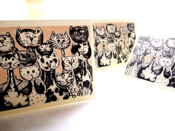 Cat Cards - Cat Stationery - Kitty Note Cards - BLACK and WHITE CATS Pastel Pink 3x5 printed art note cards (set of 4)