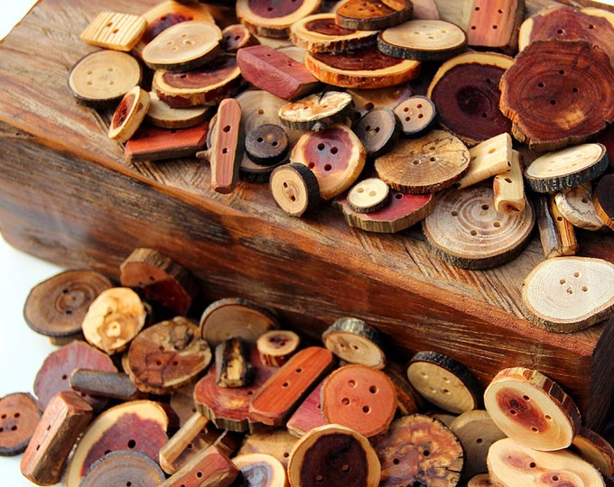 Natural Wooden Button Lot, Variety Pack , Assorted Sweater Buttons, Knitting Accessories, Tree Branch Button, Crochet Supply, Pillow Button