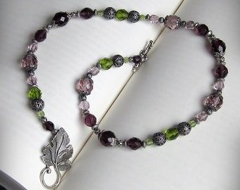 Grapevine Necklace, Reversible, in Green and Purple Czech Glass Beads and Antiqued Silver with Large Grape Leaf Clasp