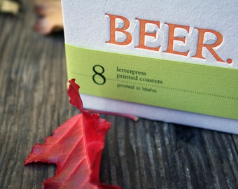 BEER. Coasters (Orange), modern beer design (Letterpress, 3.5 inches) set of 8, perfect gift