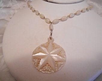 Vintage necklace, MOP star pendant necklace, 1950s necklace, retro necklace,designer necklace, vintage jewelry
