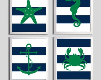 Nursery Art Stripes Nautical Beach Ocean Sea Navy Kelly Green more colors available set of 4