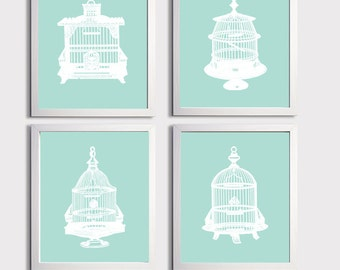 Birdcage Blue Turquoise Art Prints Shabby Chic French Country Vintage Ilustrations more colors available set of 4