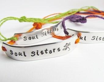 Friendship Bracelet SET of 7 BFF Custom Hand Stamped Friends Name Tie On Hemp Cord Personalized