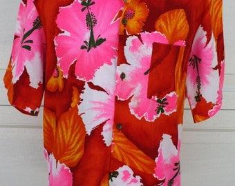 Vintage Men's Hawaiian Shirt Made In Hawaii Red Orange Pink