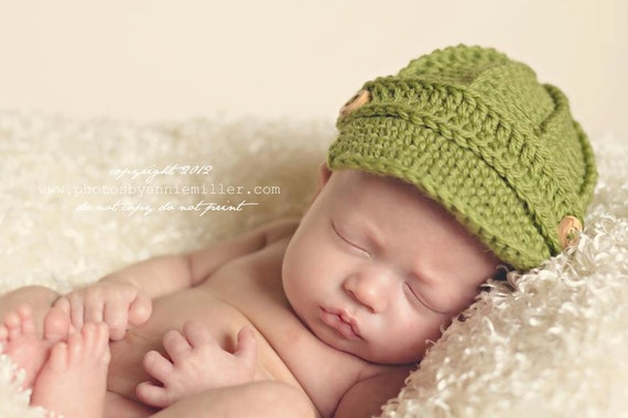 Baby Newsboy Hat - Baby Hats - Newborn Newsboy Hat - Textured Newsboy Hat - Crocheted Baby Hat - by JoJosBootique