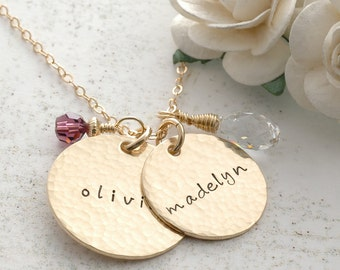 """Two hammered gold discs with birthstones - 7/8"""" and 3/4"""" size discs"""
