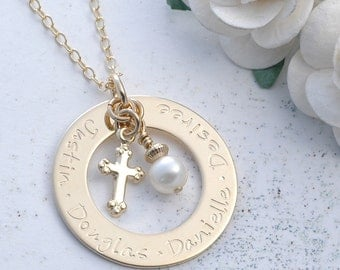 Personalized Necklace Washer Style Gold-Filled Family Name Open Circle with Cross and Pearl