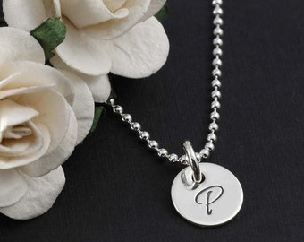 """Mommy Jewelry - One single tiny Personalized disc - 3/8"""" - Initial Necklace"""