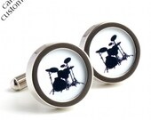 Drum Kit Cufflinks in Black and White Silhouette for Musicians PC254
