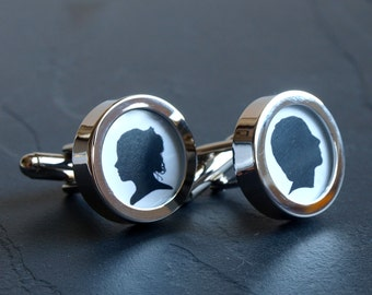 Silhouette Cufflinks of the Bride and Groom - Custom Wedding Cufflinks Made in Your Wedding Colours