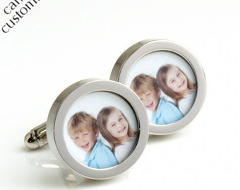 Custom Photo Cufflinks of Your Children Gift for Fathers