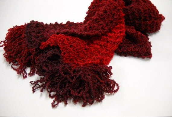 Poppy Red Knit Scarf - Lightweight Ombre Red Scarf