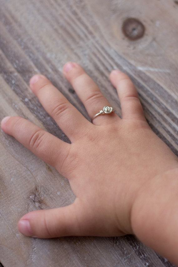 Wire Wrapped Ring - Little Girls Ring - Silver Gold Rose Gold - Small Rosette Silver Child Size Tiny Ring - Flower Girl Gift