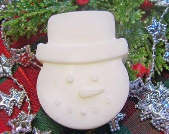 Snowman Handmade Glycerin Soap Bar Novelty Decorative Holiday Winter Seasonal Frosty U Pick Color & Scent