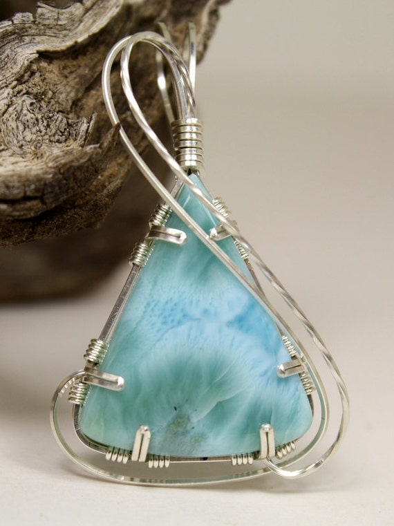 Aqua Larimar Triangular Wire Wrapped Pendant, Handmade In Sterling Silver