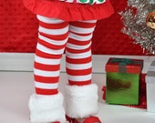 Faux Fur  Red & White Candy Cane Christmas Leg Warmers - Baby Legs- Ready to ship!