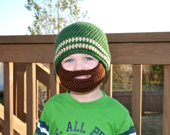 Crochet Baby Boy Beanie with Beard Hat - 3 months to 10 years - Dark Sage and Bone with Chocolate Beard - MADE TO ORDER