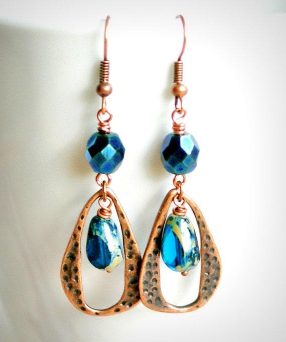midnight blues beaded copper hoop earrings french hook