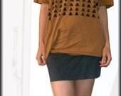 Unisex oversized T shirt- Black triangles geometric print-One Size- Last one