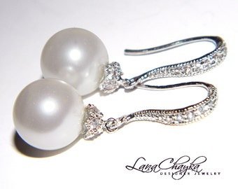 White Pearl Drop Earrings Swarovski 10mm Pearl Bridal Earrings Sterling Silver CZ Pearl Earrings Wedding Jewelry Bridal Pearl Earrings