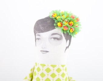 Art Doll ,Beaded OOAK doll wearing flower Crown Vintage Neon green, yellow, and hot pink  Beads , Geometric dress - timohandmade fabric doll