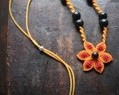 ORANGE FLOWER fiber choker, cavandoli macrame necklace flower with natural seeds
